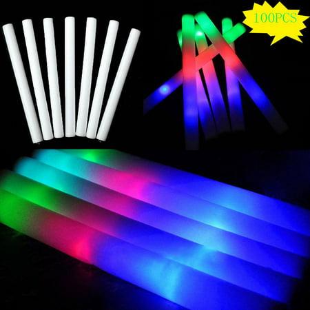 100 PCS Light Up LED Foam Glow Sticks Wands Rally Rave Batons Flashing Party DJ (Led Foam Sticks)