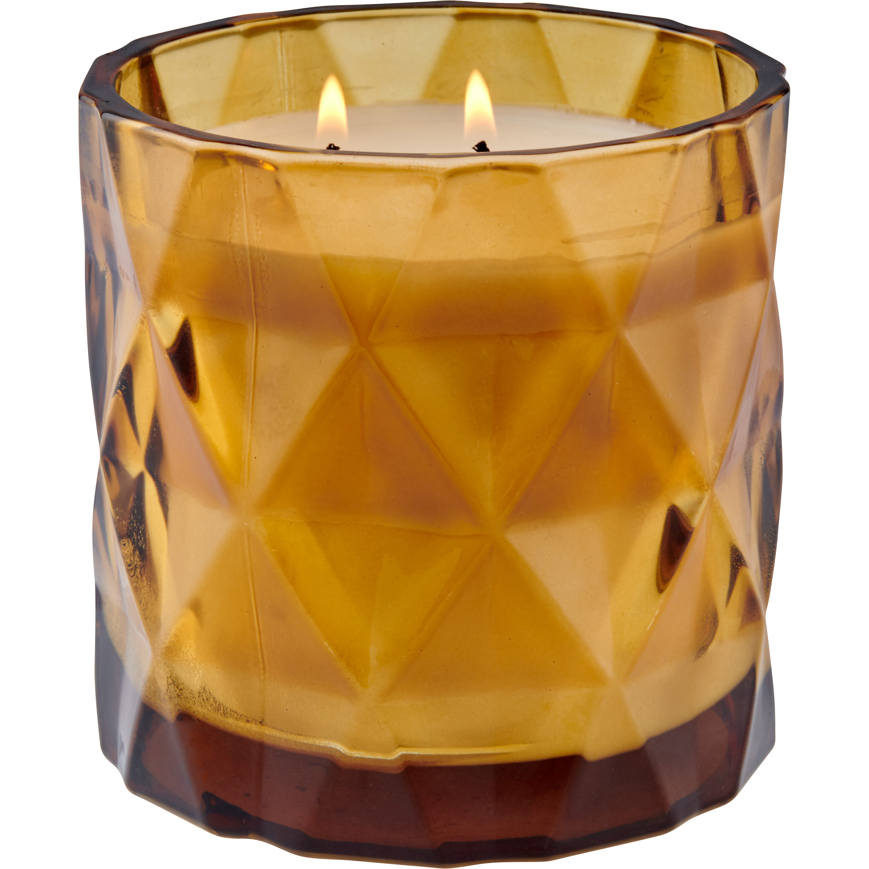 Better Homes & Gardens Geometric Glass 2-wick Candle, Soft Cashmere Amber