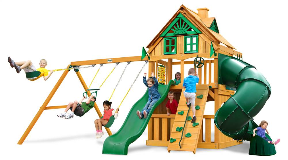 Gorilla Playsets Mountaineer Clubhouse Treehouse Swing Set with Amber Posts by Gorilla Playsets