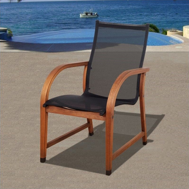 Amazonia Brooklyn Eucalyptus Wood And Mesh Outdoor Chairs Set Of 4