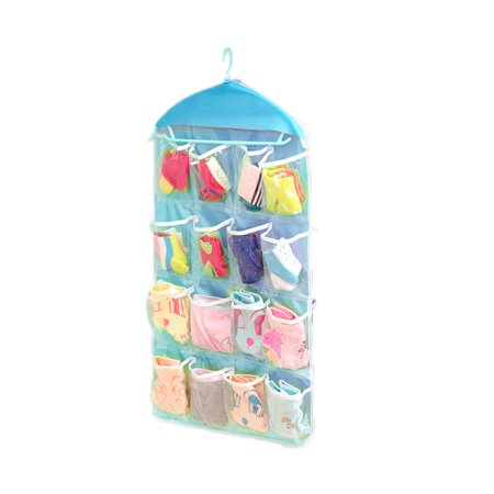 18 Pockets Clear Hanging Bag Socks Bra Underwear Rack Hanger Storage Organizer -