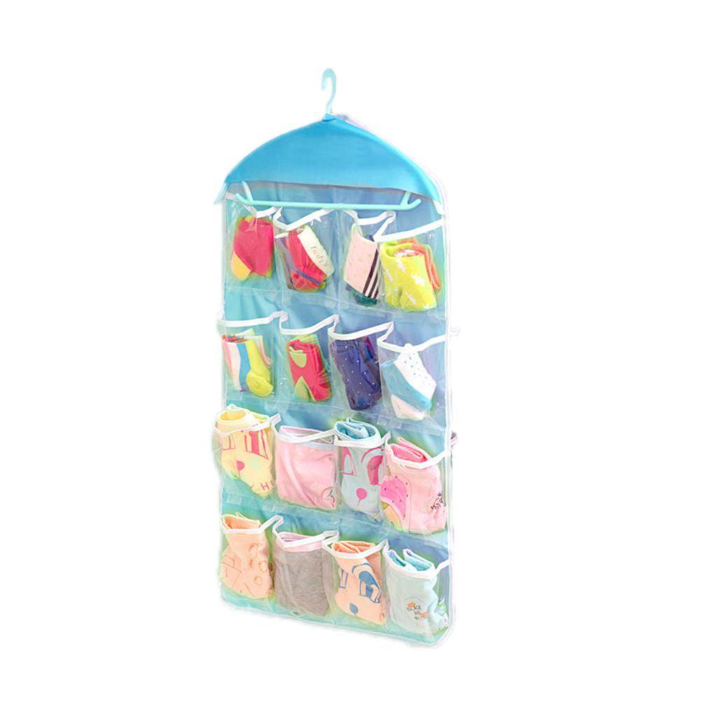 16 Pockets Clear Hanging Rack Bag Socks Bra Underwear Hanger Storage Organizer
