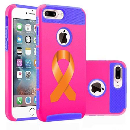 For Apple iPhone (7 Plus) Shockproof Impact Hard Soft Case Cover Leukemia Cancer Multiple Sclerosis Kidney Cancer Color Awareness Ribbon (Hot Pink-Blue)