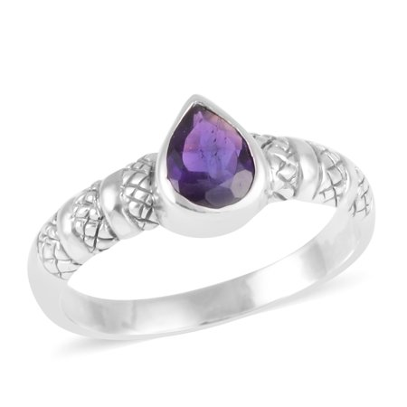 - Solitaire Ring 925 Sterling Silver Pear Amethyst Gift Jewelry for Women Size 11 Ct 0.8