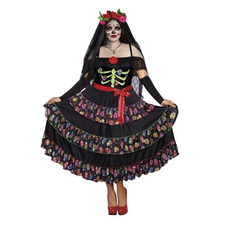Dreamgirl Women's Plus-Size Lady of the Dead Costume](Day Of The Dead Catrina Costume)