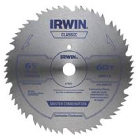 Circular Saw Blade 5/8 Arbor (Irwin 11220 Combination Circular Saw Blade, 6-1/2 in Dia, 60 Teeth, 5/8 in)