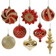 "18ct of Red and Gold Finial, Ball, Onion and Star Shatterproof Christmas Ornaments 3""- 6"""