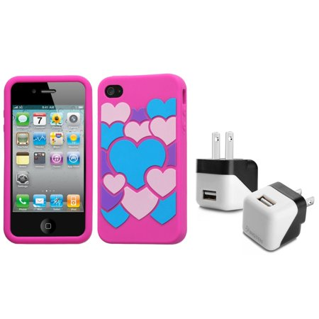 Insten Colorful Love/Hot Pink Pastel Case Cover For iPhone 4 4S + USB Travel Charger (2-in-1 Accessory