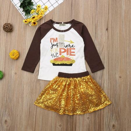 Girls Thanksgiving 2PCs Outfits Set Kids T-Shirt Top Sequins Skirt Dress - Thanksgiving Kids