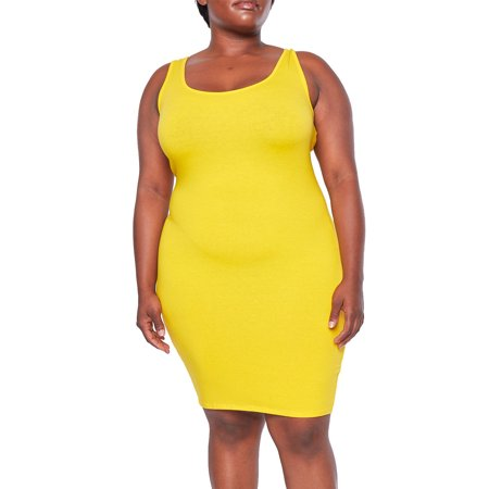 Womens Plus Size Casual Solid Basic Scoop Neck Tank Dress 1730-3XL-Yellow