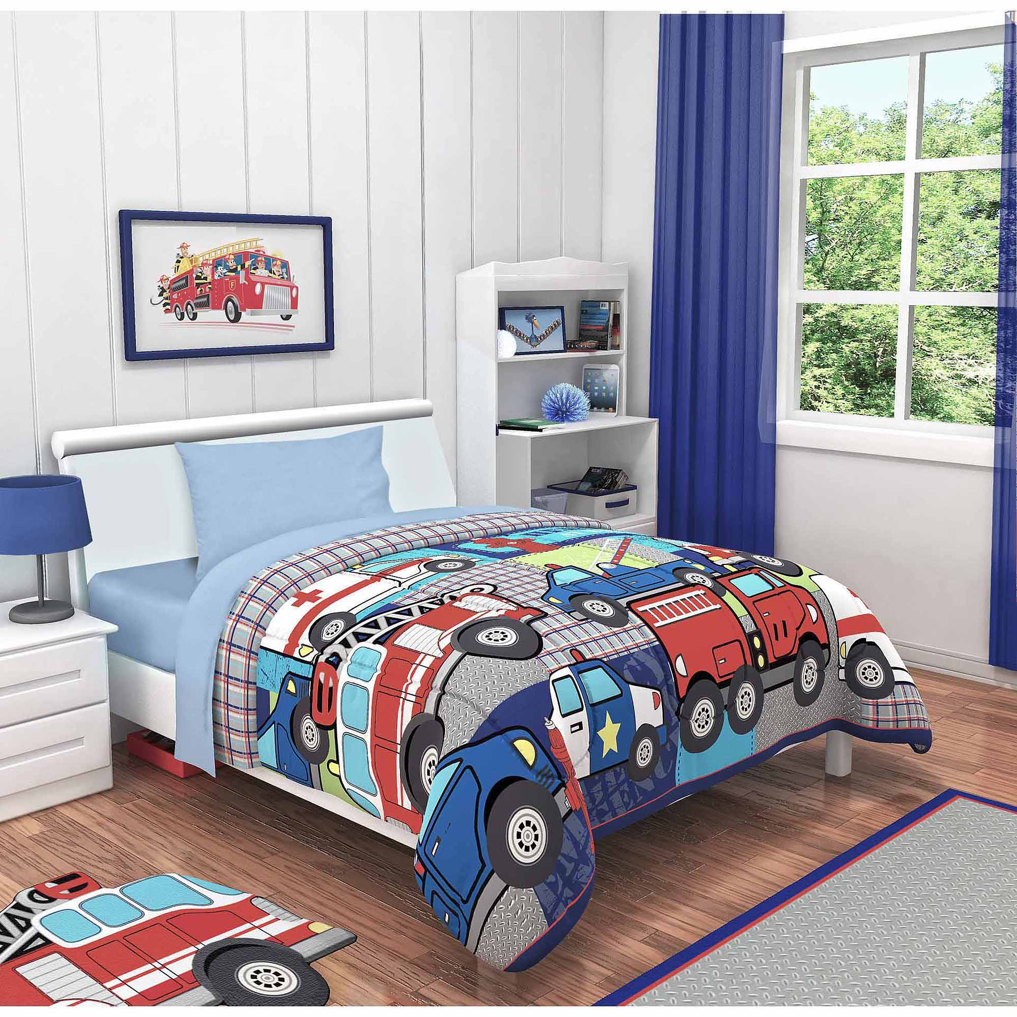 Idea Nuova Heroes At Work 3-Piece Toddler Bedding Set with BONUS Matching Pillow Case
