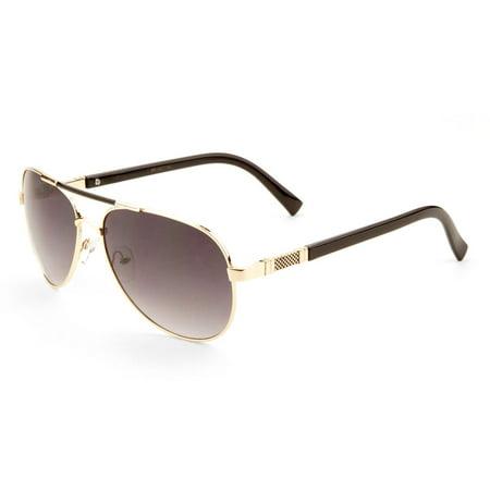 MLC Eyewear 'Cher' Double Bar Aviator Fashion Sunglasses Ocean Gradient Lens (Gradient Eyewear Sunglasses)