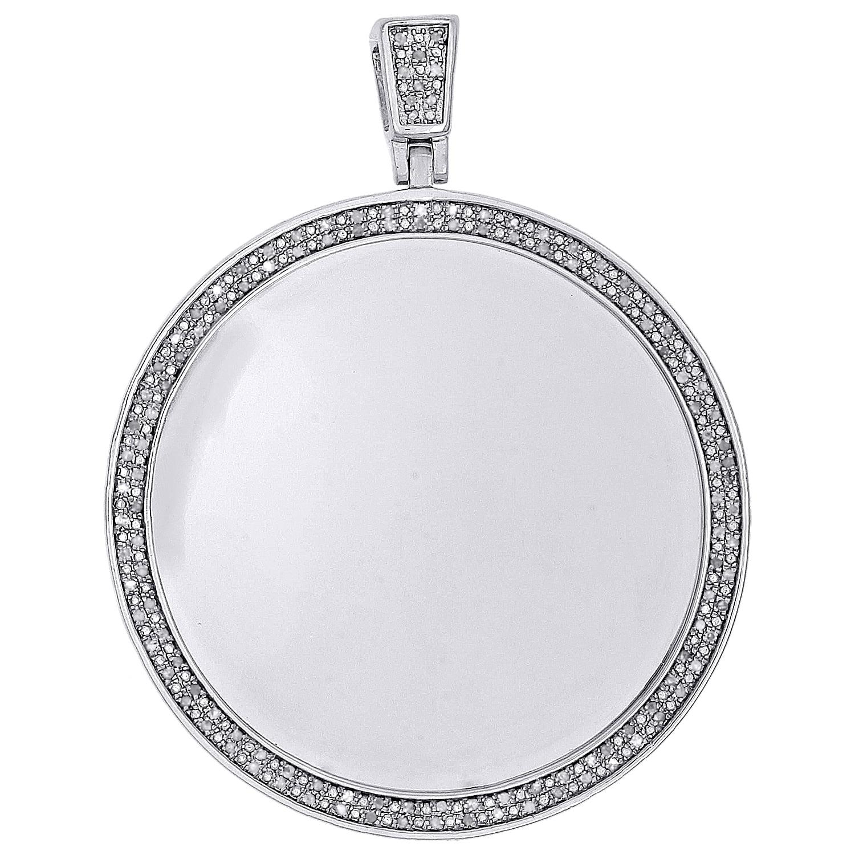 Diamond Angel Medallion Pendant Mens .925 Sterling Silver Round Charm 1//2 Tcw