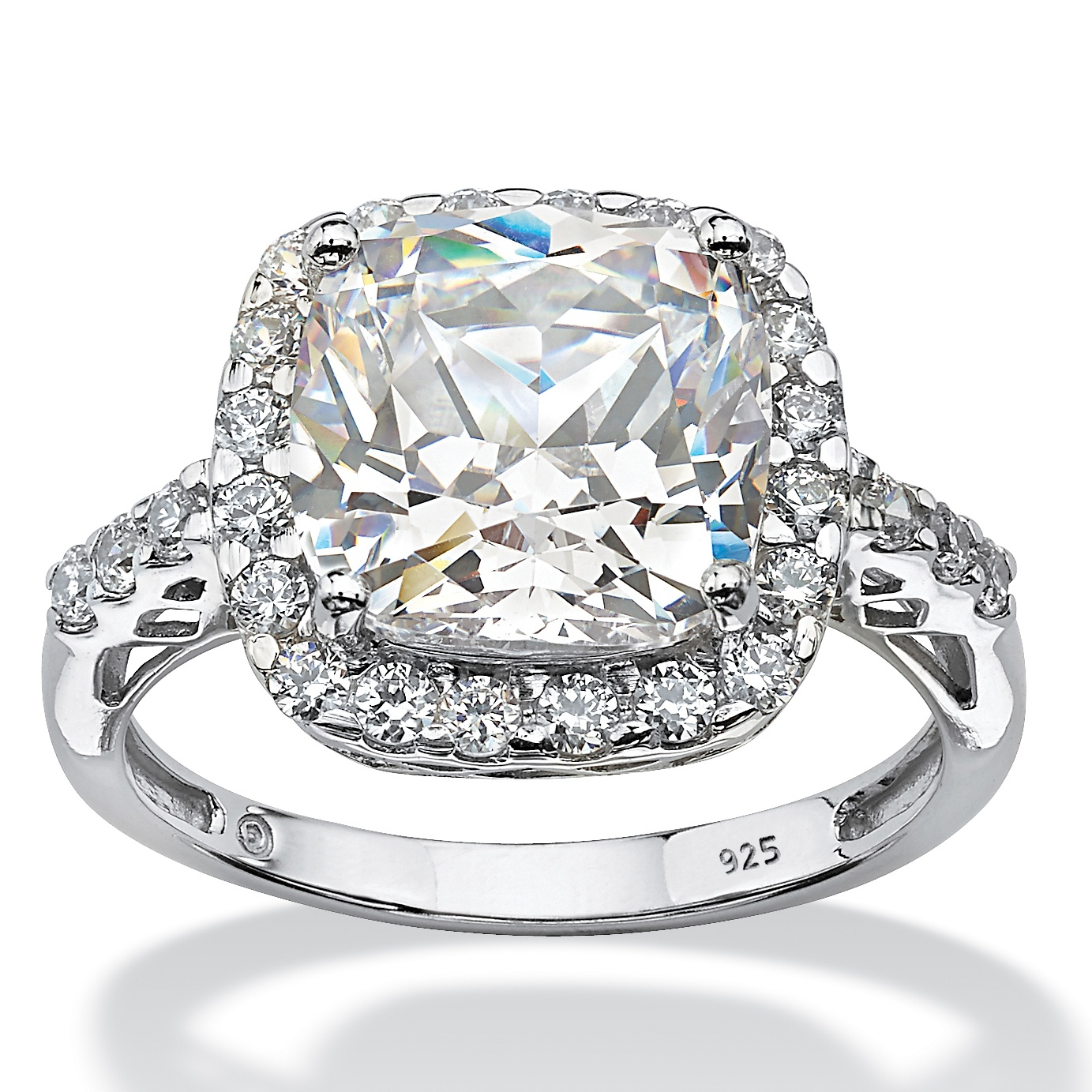 Cushion-Cut Created White Sapphire Halo Engagement Ring 5.78 TCW in Platinum over Sterling Silver by PalmBeach Jewelry