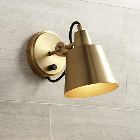 Possini Euro Design Modern Wall Lamp Warm Brass Hardwired 8