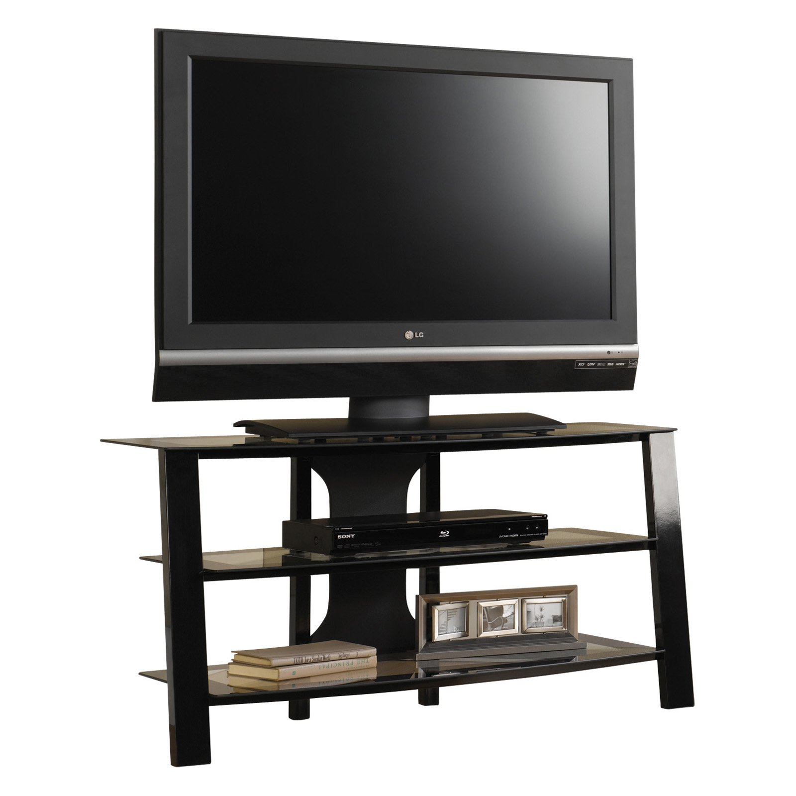 "Sauder Mirage Panel TV Stand for TV's up to 42"", Black/Clear Finish"