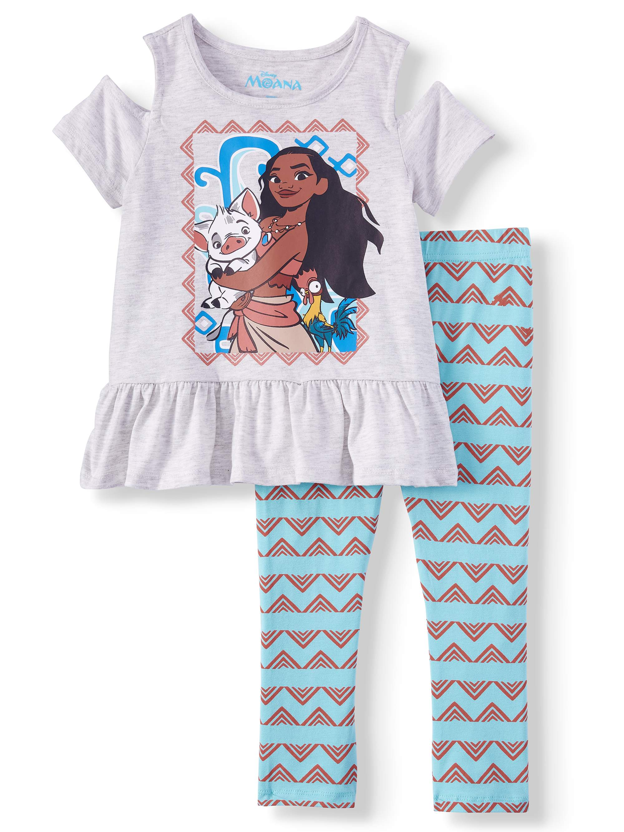 Moana Cold Shoulder Tee and Capri Legging, 2-Piece Outfit Set (Little Girls)