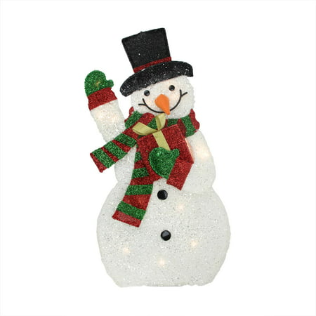 32 lighted plush tinsel waving snowman with gift for 3 d lighted christmas pig holiday outdoor decoration