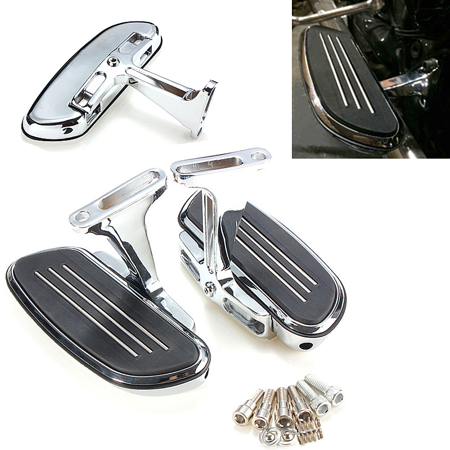 One Pair Chrome Streamline Passenger Footboard Bracket Set Slipstream Front  Rear Floorboard Rest Pegs Mounts Fit Kit For Harley Touring 93-16
