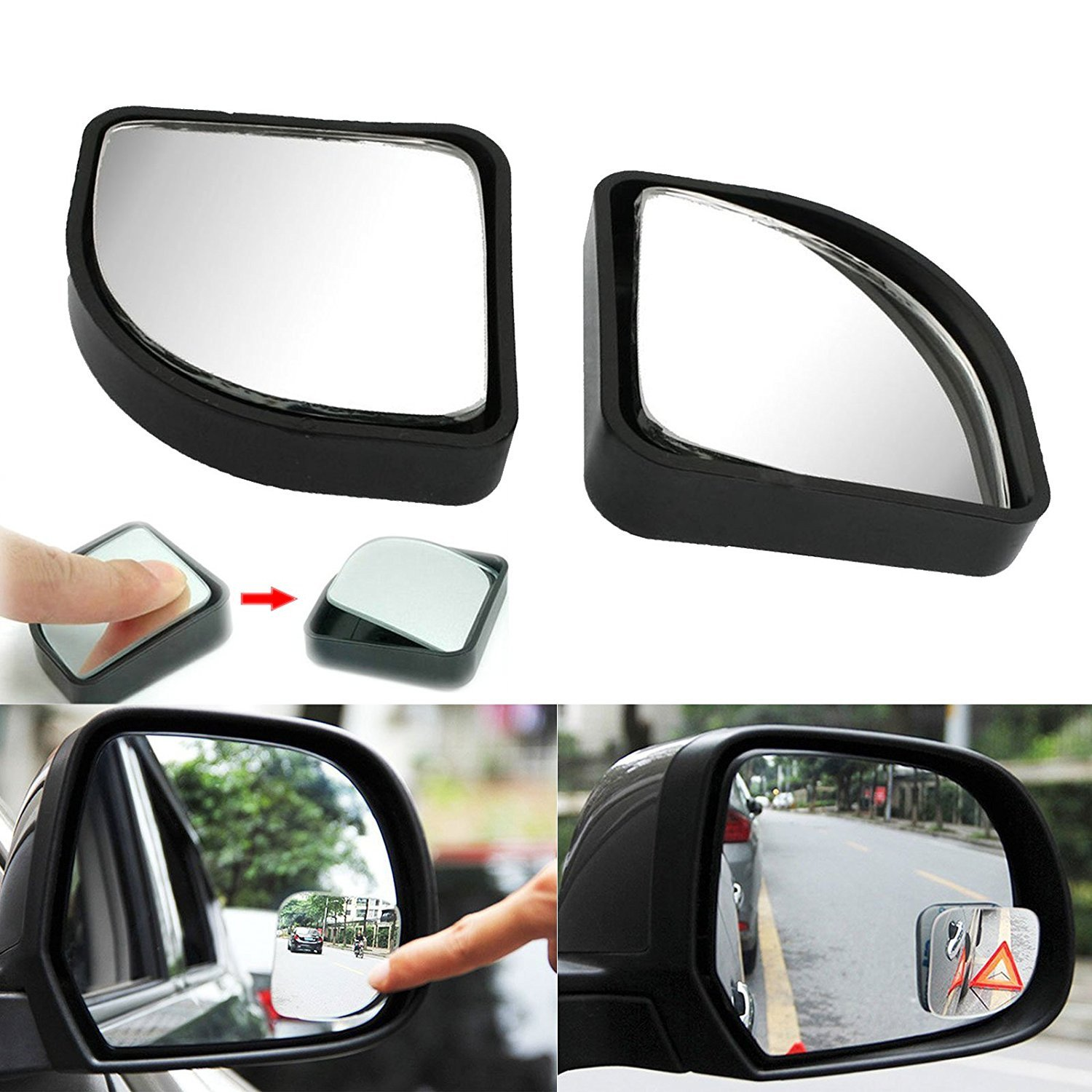 Xotic Tech Blind Spot Mirror, 2 Pcs Black Fan-shaped Auxiliary Blind Spot Convex Rear View Adjustable Angle Mirror for Car For Car Truck SUVs Motorcycle