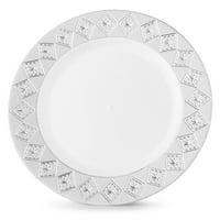 "Host & Porter Silver Rim Plastic Lunch Plates, 9"", 10 Count"