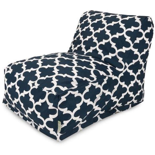 Majestic Home Navy Trellis Bean Bag Chair Lounger