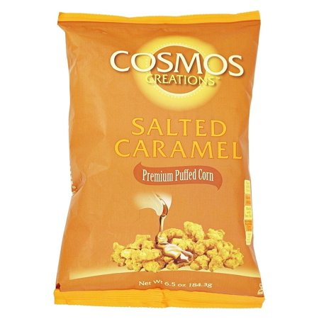 Premium Puffed Corn - Salted Caramel Popcorn Without Hulls - Gluten-Free Snack - 6.5 Ounces Each Bag (Pack of