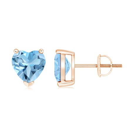 Valentine Day Sale - Swiss Blue Topaz Solitaire Heart Stud Earrings in 14K Rose Gold (7mm Swiss Blue Topaz) - SE0255SBT-RG-A-7