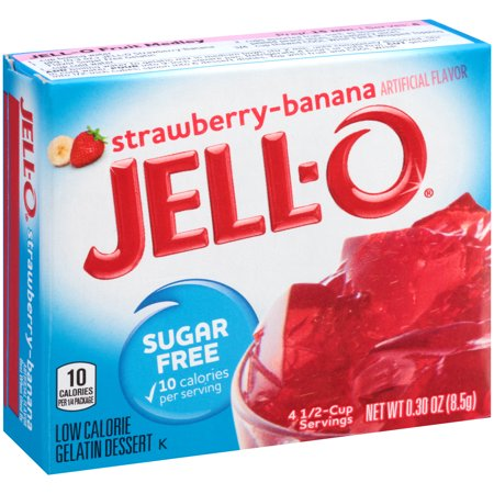 (4 Pack) Jell-O Strawberry Banana Sugar-Free Gelatin, 0.3 oz Box
