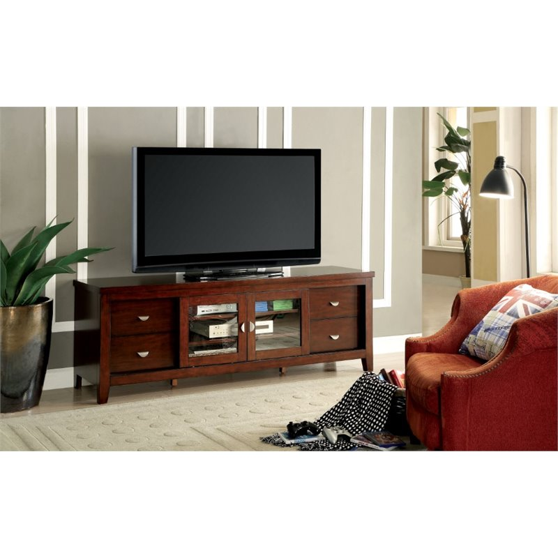 "Furniture of America Winston 72"" TV Stand in Oak"