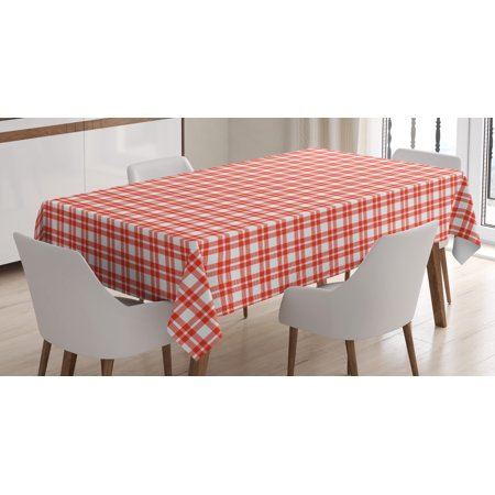 - Plaid Tablecloth, Colored and Checkered Country Picnic Pattern Repeating Squares Stripes Modern, Rectangular Table Cover for Dining Room Kitchen, 60 X 84 Inches, Vermilion White, by Ambesonne