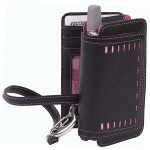 Leather Treo Smartphone - Cellective Case Horizontal Leather Pouch for BlackBerry, Treo, and Pocket PC Devices - Black/Pink