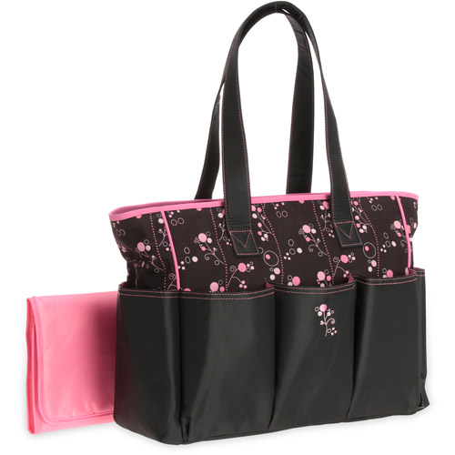 Graco Priscilla Collection 6 Pocket Top Handle Tote Diaper Bag  Black w/Pink