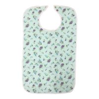 Quilted Washable Adult Bib with Snap Closure-Assorted Prints (Fun Prints)