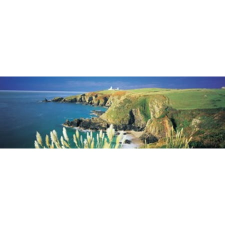 High Lighthouse (High angle view of a coast Housel Bay Lizard Lighthouse Lizard Point Cornwall England Poster)