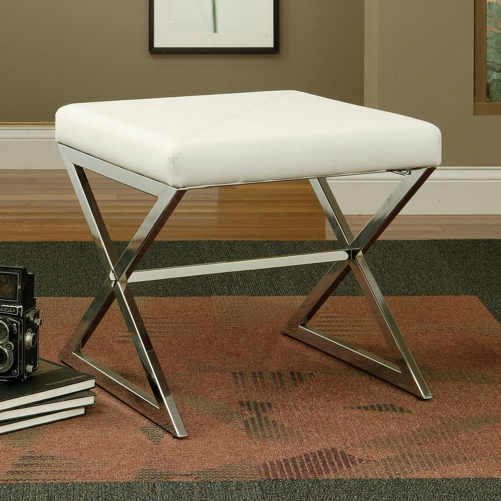 Coaster Contemporary Stool in White Leatherette