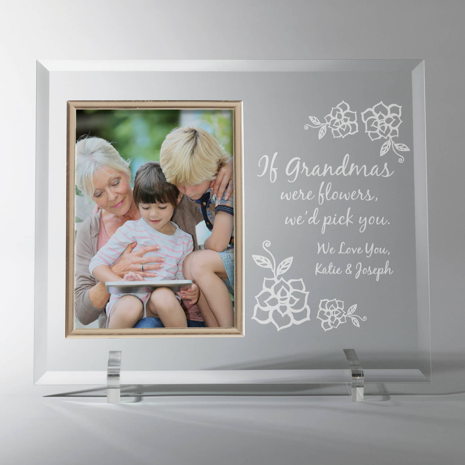 Grandmother Gift Frame - If Grandmas Were Flowers Personalized Glass Frames, I or We