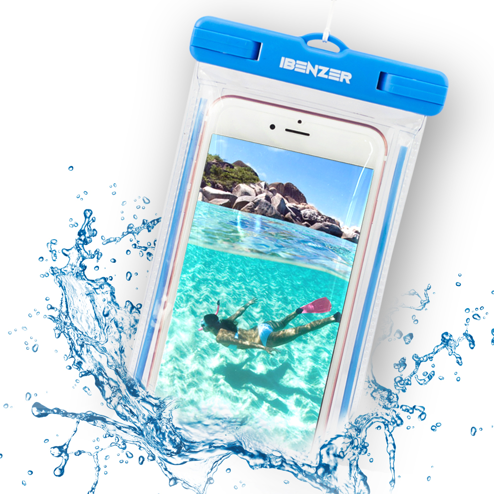 "iBenzer Universal Waterproof Case Dry Bag for Apple iPhone 6 6s,6S Plus SE, 5 5S, Samsung Galaxy S7/S6/S5 Note 5/4/3 HTC LG Sony Nokia Motorola up to 5.5"" Screen Phones, Blue"