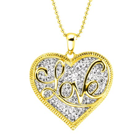 Luminesse 'Love' Script Overlay Pendant Necklace with Swarovski Crystals in 18kt Gold-Plated Sterling Silver (6090 Swarovski Crystal Pendant)