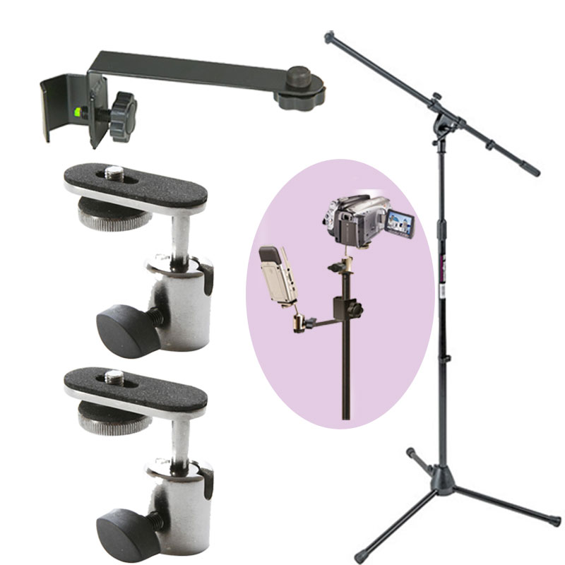 On Stage MS7701 Euro Boom Microphone Stand + Mic Extension Bar +2 Camera Adapter