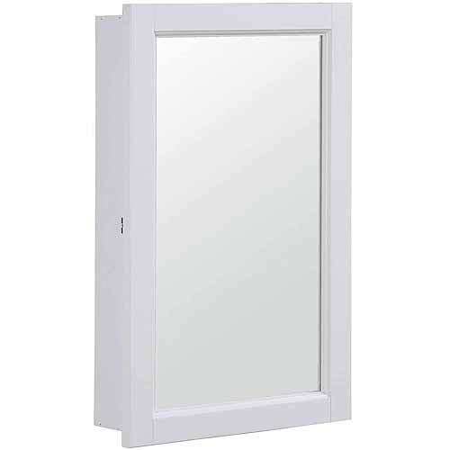 Design House 590505 Concord White Gloss Medicine Cabinet Mirror With 1 Door  And 2 Shelves