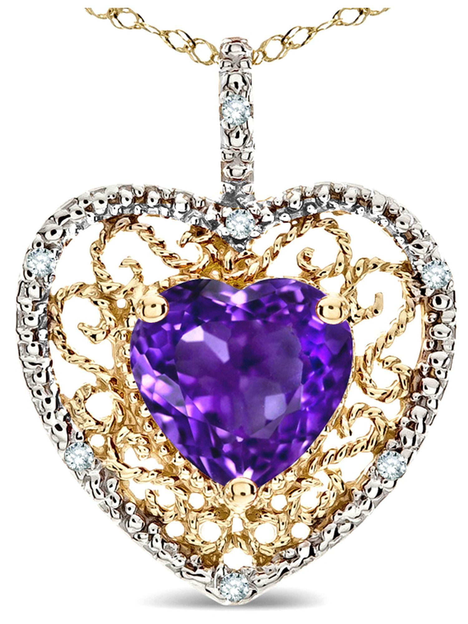 Star K Heart Shape 8mm Genuine Amethyst filigree Heart Pendant Necklace 10k Yellow Gold