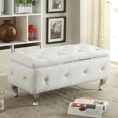 AC Pacific White Crystal Tufted Storage Bench by AC Pacific