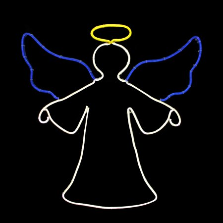 "20"" Neon Style LED Lighted Angel Christmas Window Silhouette Decoration"