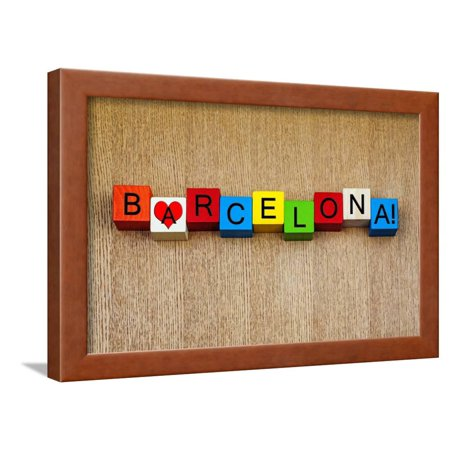Love Barcelona, Spain, Sign Series for Holidays and Travel. Framed Print Wall Art By EdSamuel - Lighting Barcelona Series