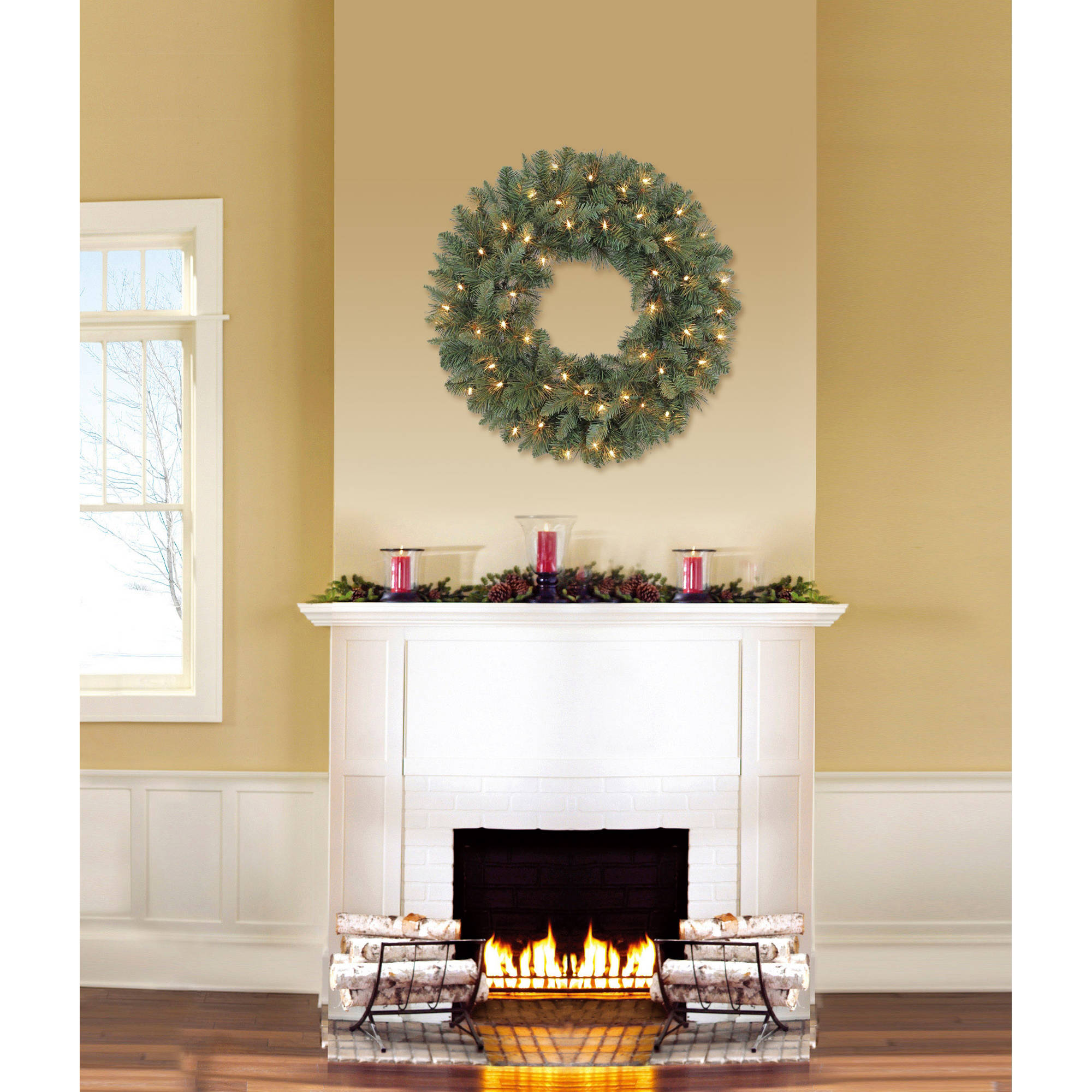 "Holiday Time Pre-Lit 24"" Scottsdale Pine Artificial Christmas Wreath, Clear Lights"