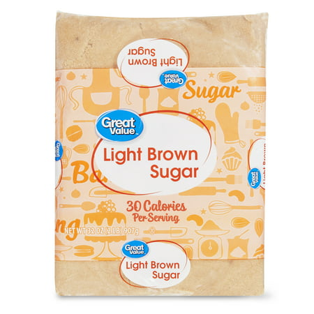 (2 pack) Great Value Light Brown Sugar, 2 Lb