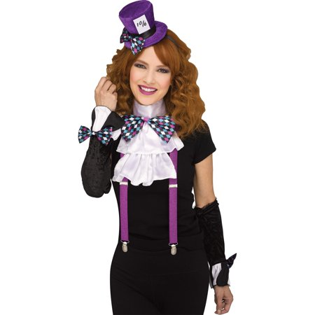Fun World Mad Hatter 3pc Adult Costume Accessory Set, One-Size, Purple Pink Blue - Mad Hatter Tim Burton Costume