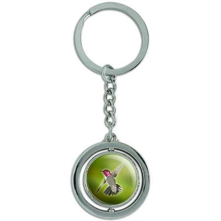 Hummingbird Bird Spinning Round Metal Key Chain Keychain Ring