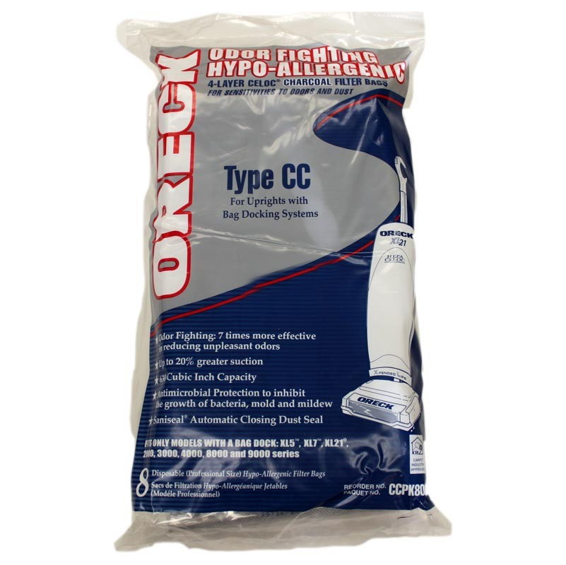 8 Pack Oreck Odor Fighting Hypo-Allergenic 4-Layer Celoc Charcoal Filter Vaccum Bags #76135-01